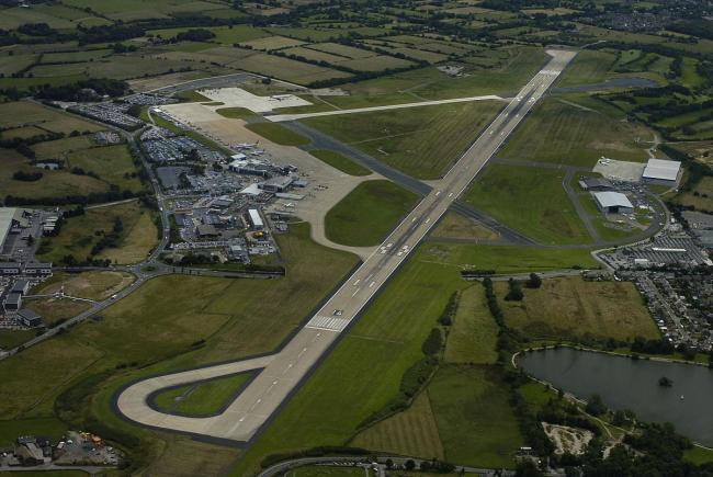 An aerial view of Leeds Bradford Airport