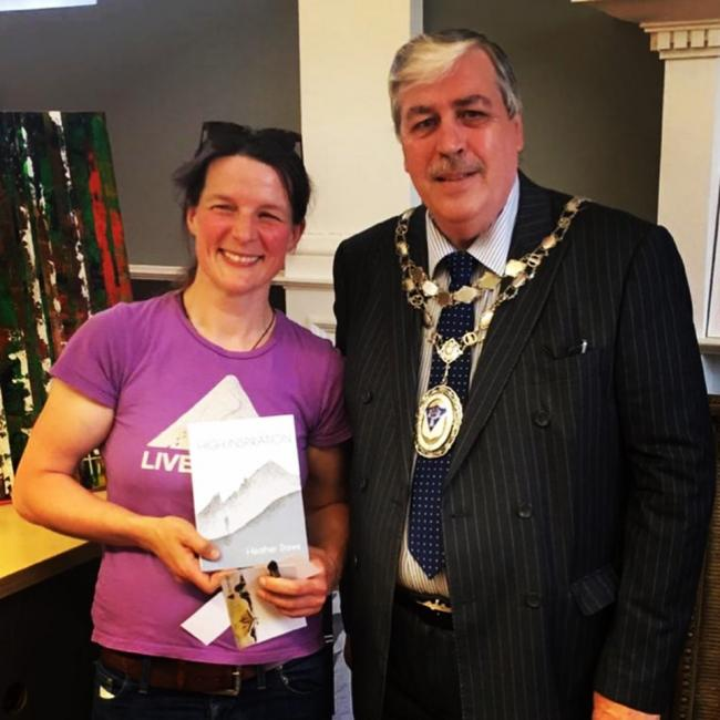 Editor and author Heather Dawe with Otley Town Mayor Peter Jackson