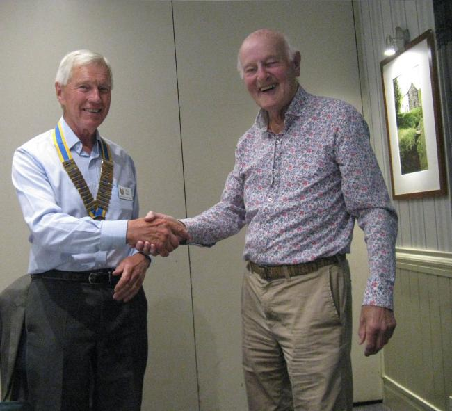 Handover - new Rotary Club of Otley Chevin President Bill Baker with outgoing president George Duncan