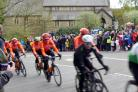 The Tour de Yorkshire Men's Race passing St Giles Church, Bramhope.