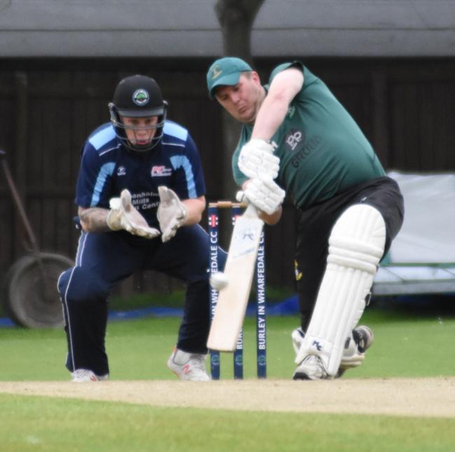 Otley's Oliver Halliday hits out in Otley's win over Burley in the T20 TB Cup final. Picture: Mike Pratt