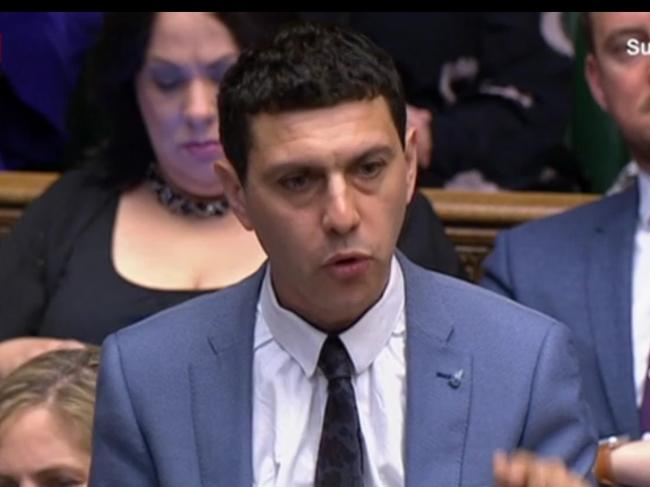 MP Alex Sobel putting his question to PM Theresa May