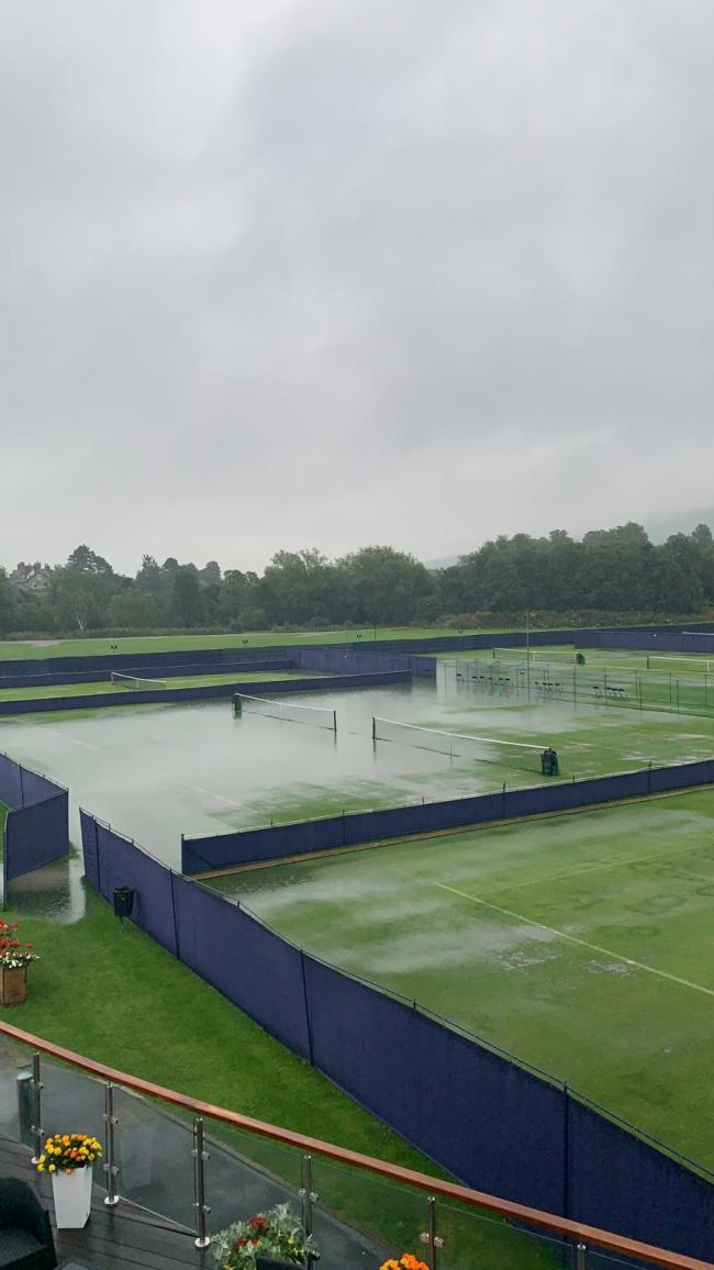 Courts Two and Three at Ilkley Lawn Tennis & Squash Club were waterlogged on Sunday but dried out in time for the start of this week's tournament