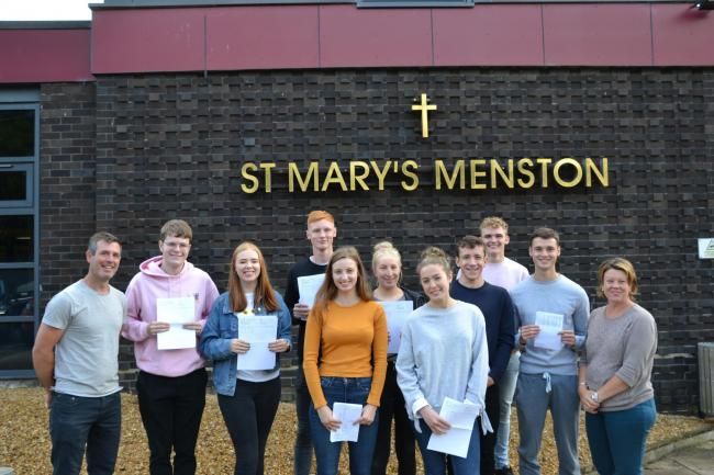 St Mary's Menston A Level students celebrate their success