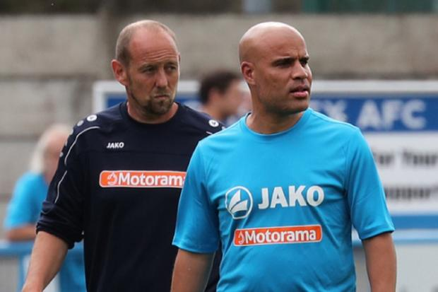Marcus Bignot, right, pictured with fellow Guiseley joint-manager Russ O'Neill, says his side are rested and raring to go after a week-long break in action. Picture: Alex Daniel Photography