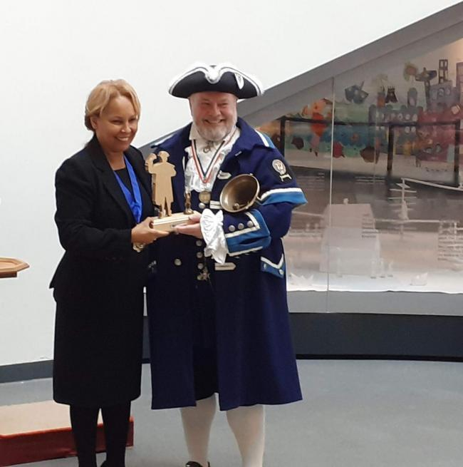 Otley Bellman Terry Ford receiving his award from the Lord Mayor Elect of Liverpool, Councillor Anna Rothery