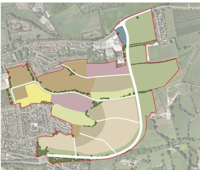 A drawing outlining (in red) the proposed East of Otley housing site, stretching from Pool Road down to Leeds Road