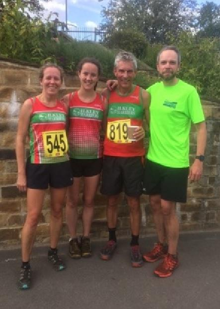 Ilkley Harriers Rachel Carter, Lucy Williamson, Paul Calderbank and Nick Halliwell at the Yorkshireman half marathon. Picture: Sue Williamson