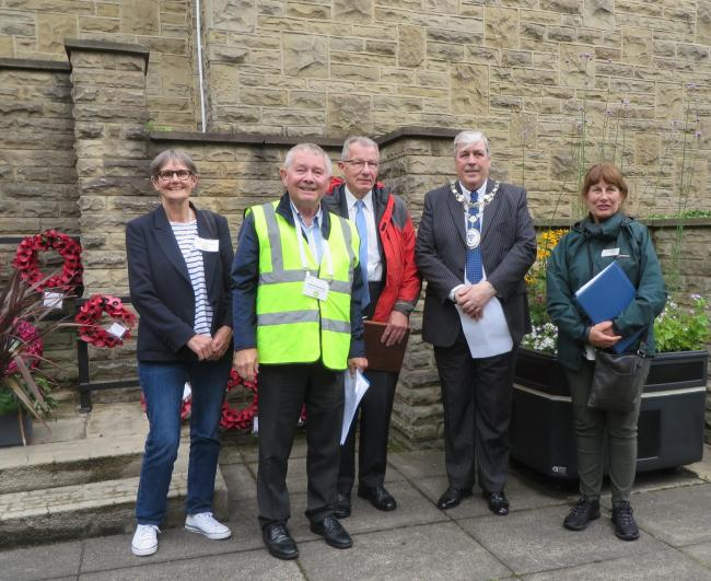 Penny Rhodes and David Bellerby of Otley in Bloom with Yorkshire in Bloom judges Steve Bumby and Lynda Parkinson and (second right) Town Mayor Peter Jackson