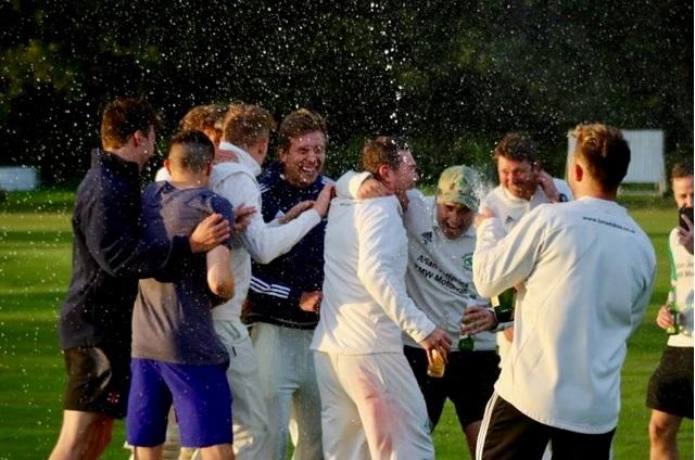Olicanian Cricket Club players celebrate promotion after Saturday's match