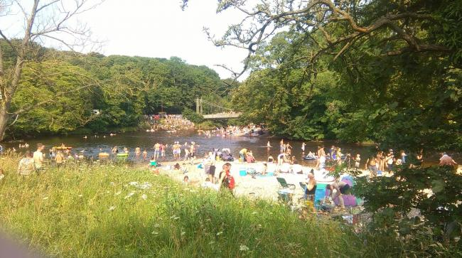 Bathers in the River Wharfe at Ilkley this summer