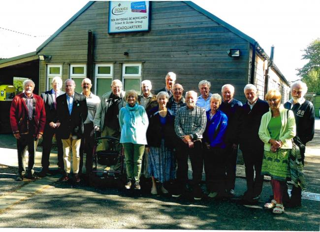 1st Ben Rhydding Hag Dyke leaders reunion, pictured outside the Scout HQ in Ben Rhydding