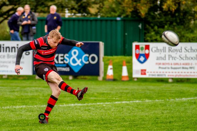 Chuckie Ramsay (pictured against Alnwick) missed an early penalty. Picture: ruggerpix.com.