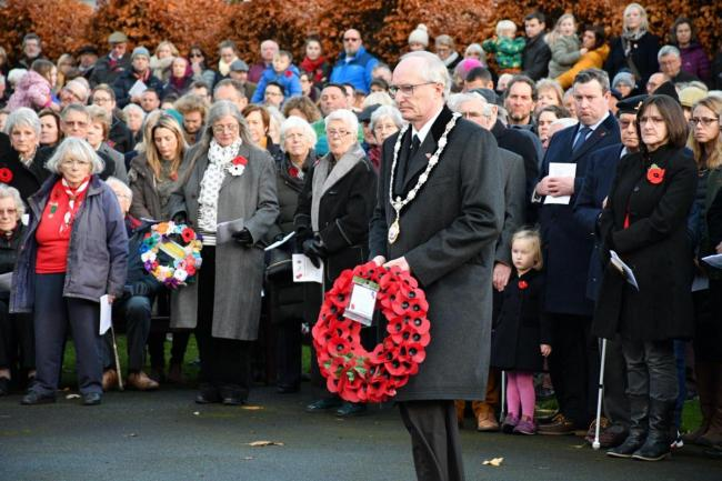 The Mayor of Ilkley, Cllr Steve Butler laying a wreath in 2018
