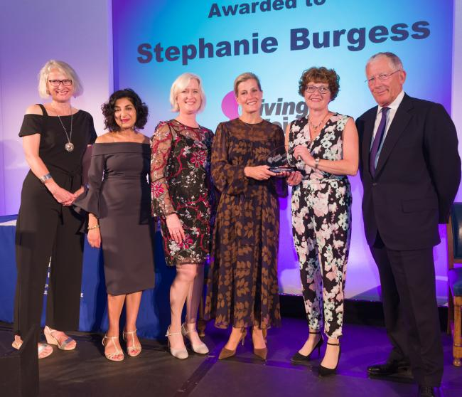 Stephanie, second from right, with – from left – Della Money, Kamini Gadhok and Mary Heritage, of the Royal College of Speech and Language Therapists, the Countess of Wessex and Nick Hewer, who is the college president (photo: Geoff Wilson)