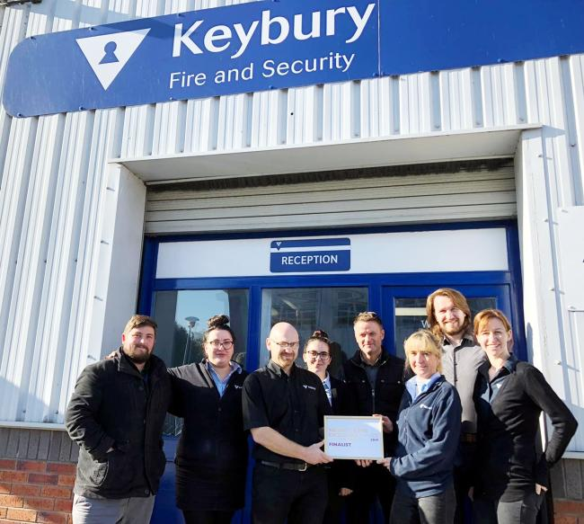 Some of the Keybury Fire and Security team pictured with the certificate