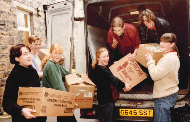 Ilkley Grammar School was sending gifts to Romania when this picture was taken in 1992.