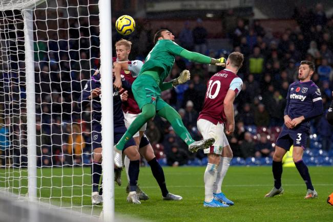 West Ham keeper Roberto Jimenez scores an own goal