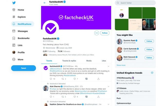 The CCHQ press office Twitter account rebranded as factcheckUK