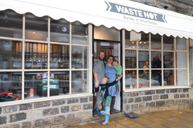 Charlotte Hawkins at her relaunched minimal waste shop in Burley-in-Wharfedale