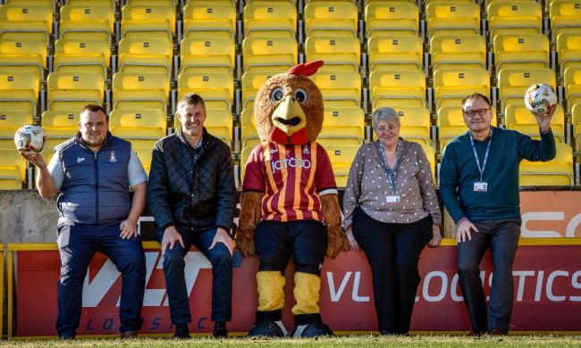 At the Safety Nets launch are – from left – Adam Thirsk and Ian Ormondroyd of the Bradford City FC Community Foundation, club mascot Billy Bantam, Helen Lees and Tony McGeachie, of CAMHS