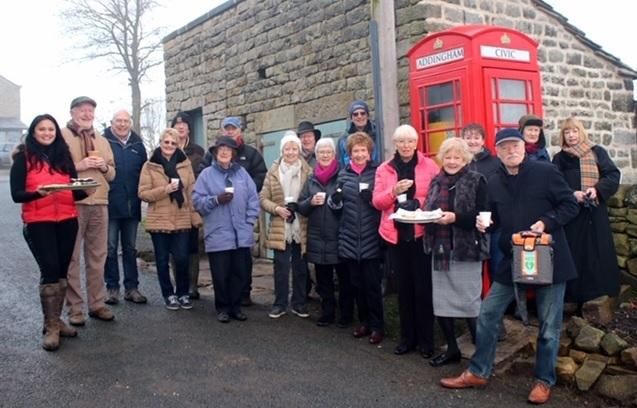 The official opening of the kiosk in Addingham which now houses a defibrillator