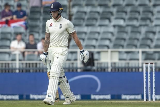 England all-rounder Ben Stokes walks off after being dismissed by South Africa's Anrich Nortje on the opening day of the fourth Test in Johannesburg.