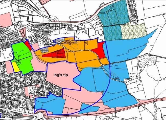 The East of Otley development site (marked by the dark blue line)