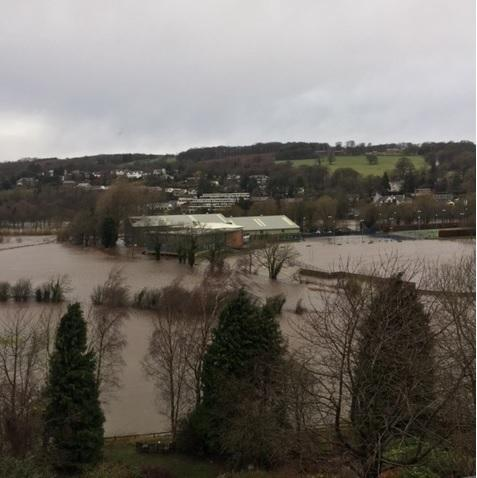 Ilkley Tennis Club surrounded by flood water last weekend