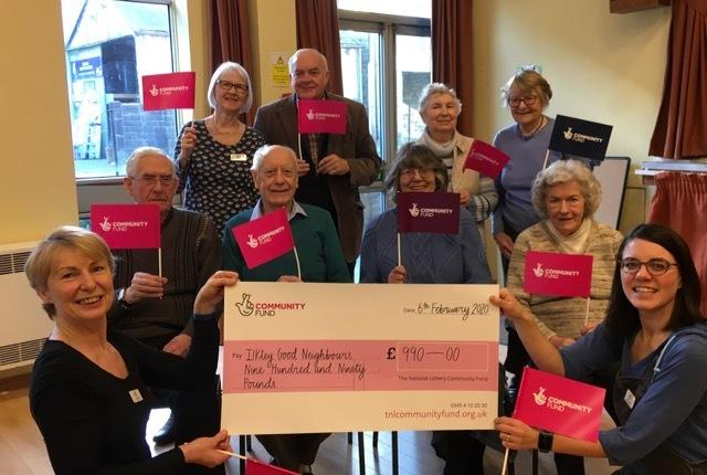 Ilkley and District Good Neighbours celebrate the National Lottery donation