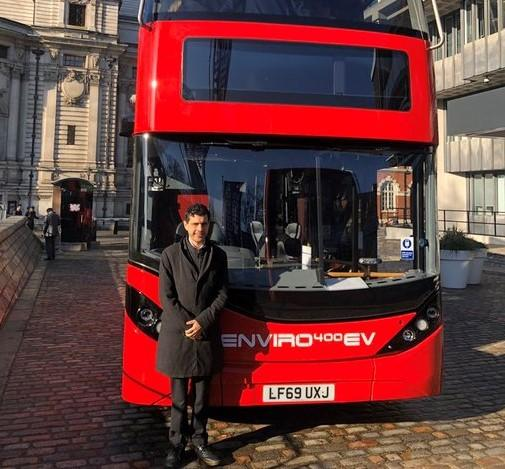 Leeds North West MP Alex Sobel checking out an electric bus at the UK Bus Summit