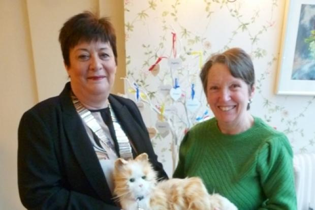 LILY, the robotic cat, was presented to Ann McGregor by Janet Appleton