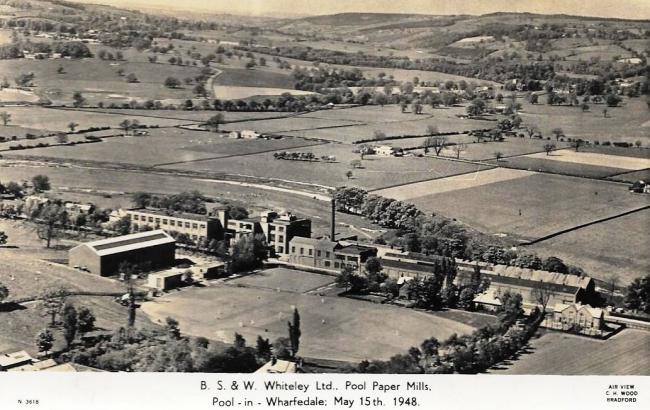 THIS aerial view of Pool Paper Mill and the surrounding countryside was taken in 1948. It was donated to Aireborough Historical Society by Andrew Emsley. The paper mill was owned by B S & W Whiteley. The Pool-in-Wharfedale mill was set up in 1886 by t