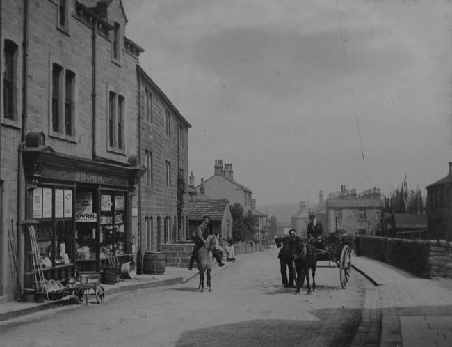 RENOWNED local photographer E E Slater captured this image of Horsforth. The undated pictured was taken onto a slide and digitally transferred for Aireborough Historical Society by John Hobson. Featured in the image is a shop called Browns, which sold har