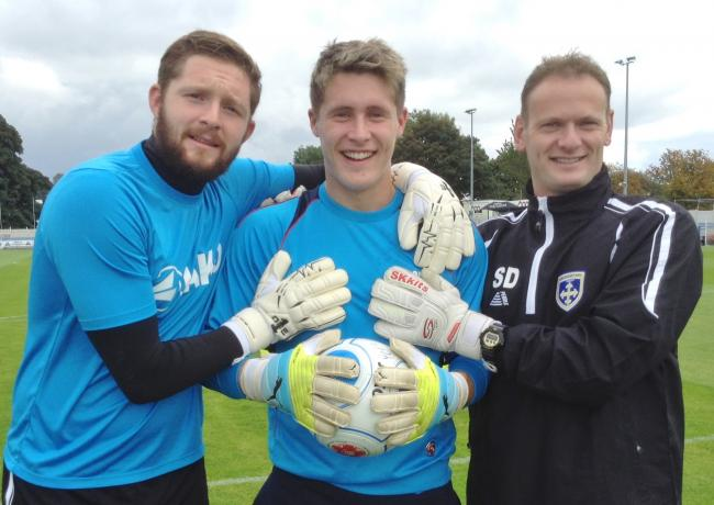 New Avenue goalkeeper Dan Atkinson (middle) is pleased to be reunited with manager Mark Bower