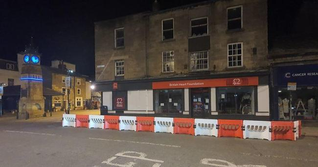 A pavement-widening barrier in Otley. More measures to boost cycling and walking could follow