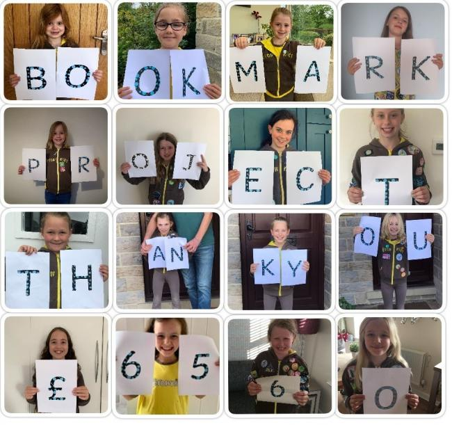 The brownies celebrate the total raised by the bookmark project