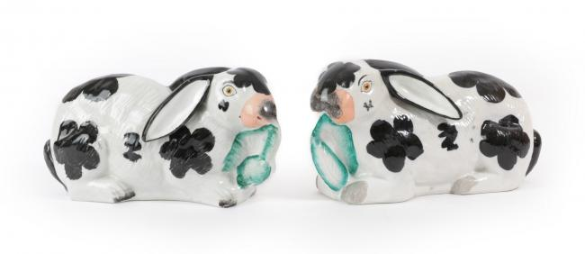 Up for auction - this pair of Staffordshire Pottery Rabbits dates back to circa 1870