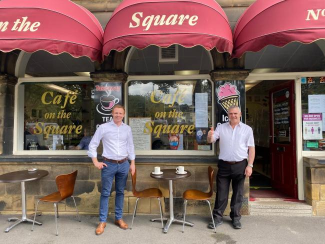 MP Robbie Moore with Café on the Square owner Antonio Gentile