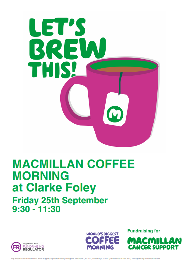MacMillan Coffee Morning at Clarke Foley