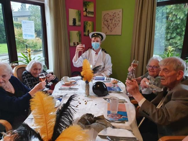 Residents of Kirkwood Residential Care home at the captain's table