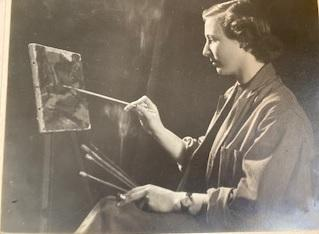 Ann Carr, one of the founders of Menston Art Club, is pictured in her early days as an artist
