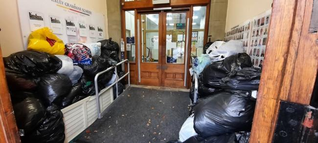 The coats collected at Ilkley Grammar School which will keep asylum seekers and refugees warm this winter