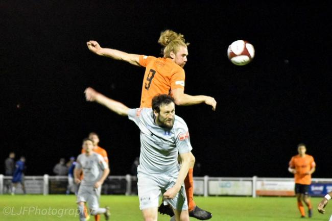 Brighouse (orange) in league action against Dunston in October, a game they lost 4-3. Picture: Liam Ford.