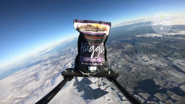 Now that's one giant leap for a haggis, as Scotland's national dish is sent into space