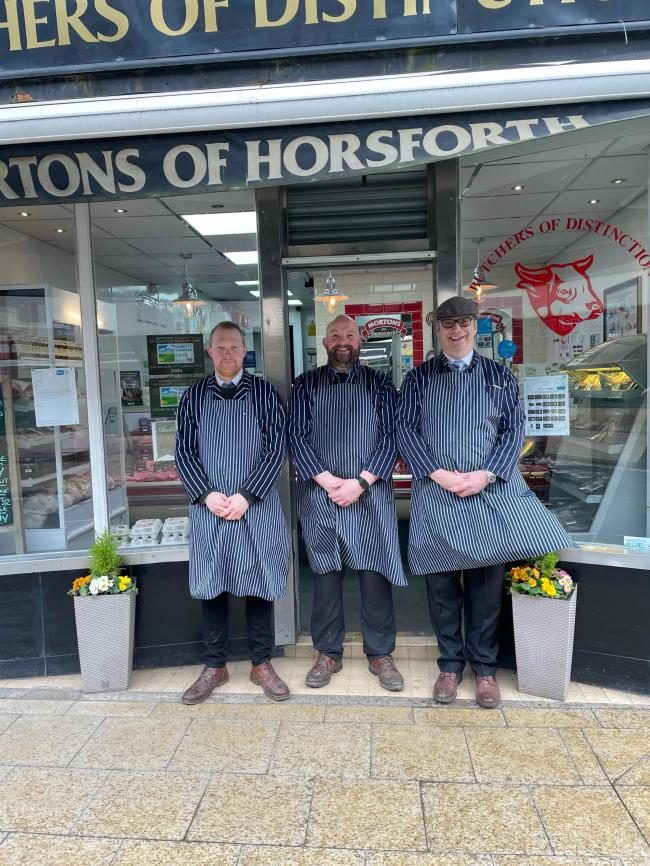 The team at Morton's Butchers in Horsforth who are providing free deliveries to Wheatfields Hospice