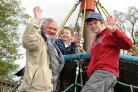 Paul Hockney enjoyed the climbing frame with his grandchildren, Katherine, 5, and Jonny Knight, 13.