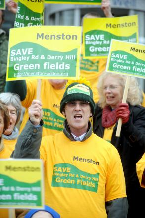 Menston Action Group protesters at Bradford Council's planning department last year.