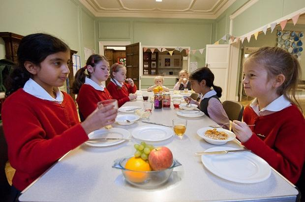 Youngsters at Moorfield School tuck into breakfast