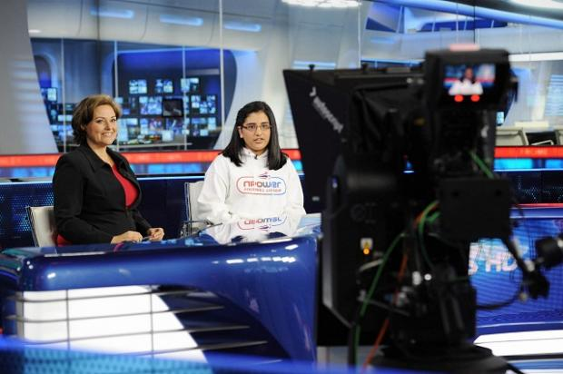 Hana Ismail during her work experience with Sky Sports News presenter Clare Tomlinson